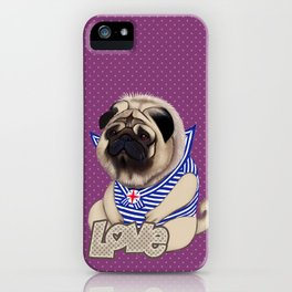 Sailor pug dog with purple dot pattern iPhone Case