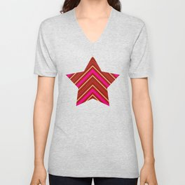 Modern Diagonal Chevron Stripes in Shades of Red and Pink Unisex V-Neck
