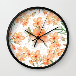 Modern hand painted orange green watercolor floral Wall Clock