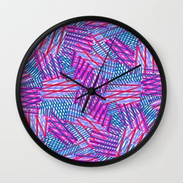 Pink and Blue Criss Cross - Sarah Bagshaw Wall Clock