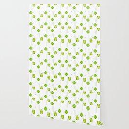 green clover leaf pattern watercolor Wallpaper