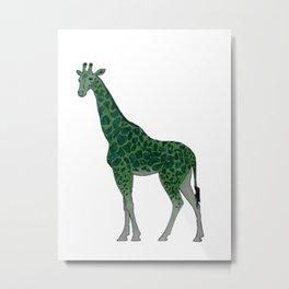 Giraffe is for Green Metal Print