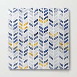 Herringbone chevron pattern.Indigo faux gold acrylic canvas Metal Print