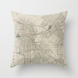 Vintage Map of Camden NJ (1921) Throw Pillow