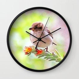 Cute little house sparrow Wall Clock