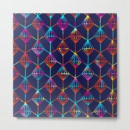 Neon Diamond Patern no1 Metal Print