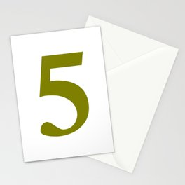 5 (OLIVE & WHITE NUMBERS) Stationery Cards