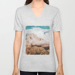 Mountains in Clouds.  Nature Landscape Photography Unisex V-Neck
