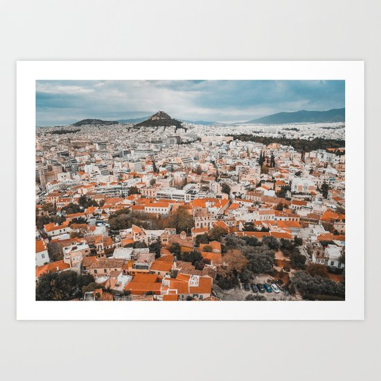 View of Acropolis in Athens Fine Art Print by sidecarphoto