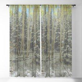 Colorado Autumn Snowstorm Sheer Curtain