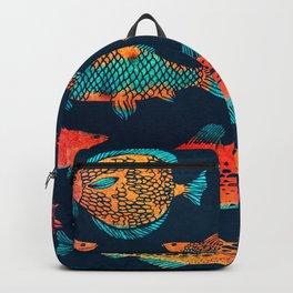 Deep Dark Sea Glowing Fish Pattern Watercolor Painting Backpack