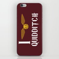 quidditch iPhone & iPod Skins featuring I love Quidditch by Danielle Podeszek
