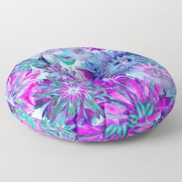 Rivalry of Flowers - blue & pink Floor Pillow