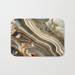 White Gold Agate Abstract Bath Mat