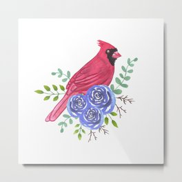 Redbird or Male cardinal on perennial rose flowers watercolor painting Metal Print