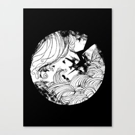 The wave in black Canvas Print