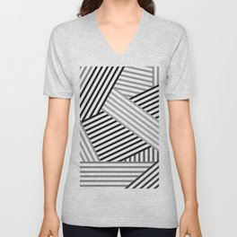 White gray striped abstract pattern 2 Unisex V-Neck