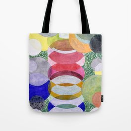 Overlapping Ovals and Circles on Green Dotted Ground Tote Bag