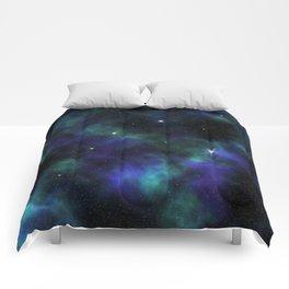 Blue Green Galaxy Comforters