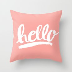 Hello Hand Lettering - Coral Throw Pillow