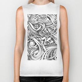 Escher Like Abstract Hand Drawn Graphite Gray Depth Biker Tank