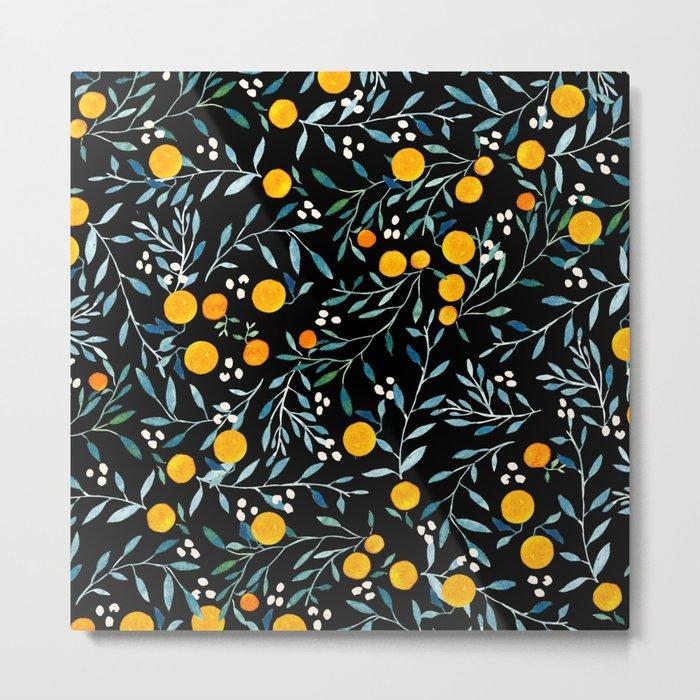 Oranges Black Metal Print