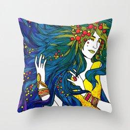 Peacock Hair Throw Pillow