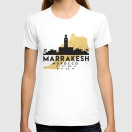 MARRAKESH MOROCCO SILHOUETTE SKYLINE MAP ART T-shirt