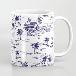 Tropical Island Vintage Hawaii Summer Pattern in Navy Blue Coffee Mug