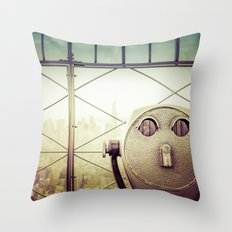 New York City Skyline - Tourist Binoculars World Trade Center from Empire State Building Throw Pillow