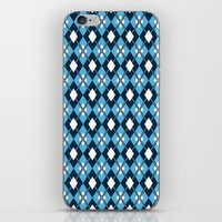 preppy iPhone & iPod Skins featuring Blue Preppy Argyle by markmurphycreative