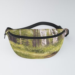 Birch Trees Nature Landscape Oil Painting Fanny Pack