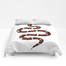 Kundalini red snake on white Comforters