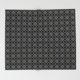 CHARCOAL - deep warm grey checked pattern Throw Blanket