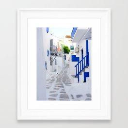 Beautiful Whitewashed Street Mykonos Greece Framed Art Print