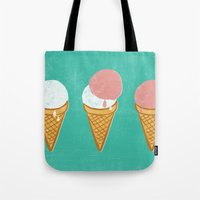 icecream Tote Bags featuring Icecream by atomic_ocean