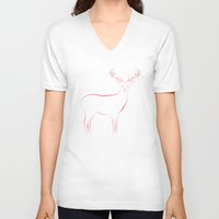 reindeer V-neck T-shirts featuring Reindeer by George Williams