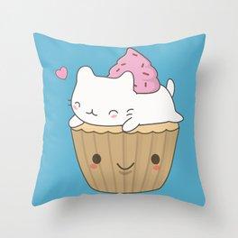 Kawaii Cute Cat Cupcake Throw Pillow