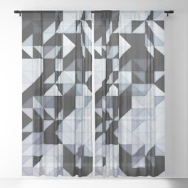 Abstract Black and White Geometry Sheer Curtain