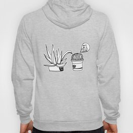 Don't Be a Prick Cacti Dude - Black and White Trendy Illustration Hoody