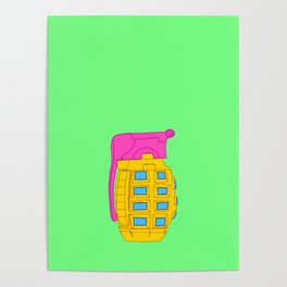Yellow and Pink Toy Hand Grenade Poster