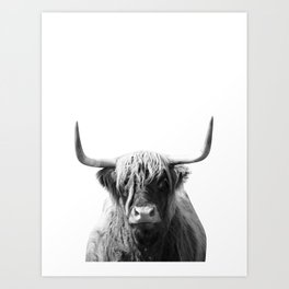 Highland cow | Black and White Photo Art Print