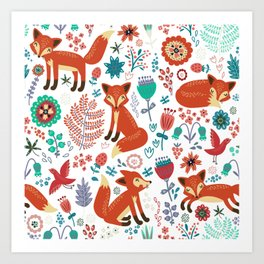 Red Foxes Flowers & Birds Pattern Art Print