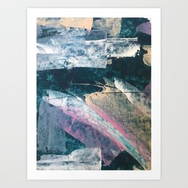 Karma [1]: a vibrant, abstract mixed-media piece in pink, peach, white and teal Art Print