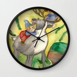 Elves and Reindeer Wall Clock