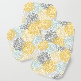Floral Pattern, Yellow, Pale, Aqua, Blue and Gray Coaster