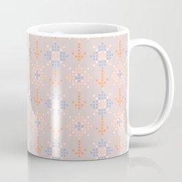 Pastel coral blue orange abstract cross stich pattern Coffee Mug