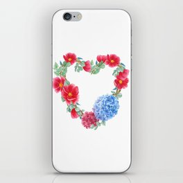 Floral wreath in heart shape iPhone Skin