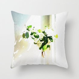 Vase of Flowers with shadows watercolor Throw Pillow