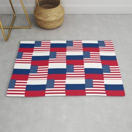 Mix of flag : Usa and russia Rug